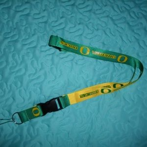 OREGON DUCKS GREEN AND YELLOW LANYARD